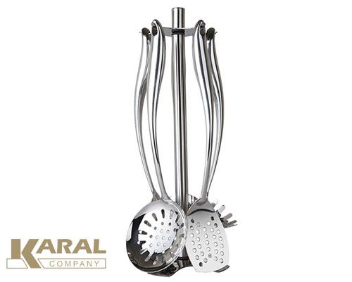 ست کفگیر و ملاقه استیل 6 پارچه کارال مدل درنیکا