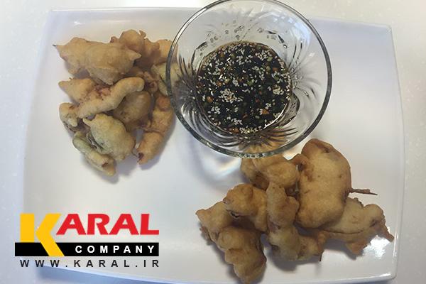 طرز تهیه تمپورای ژاپنی با سس سویا و زنجبیل در کارگاه آشپزی کارال