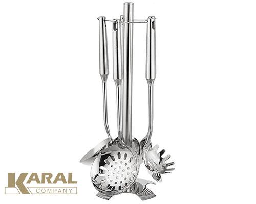 ست کفگیر و ملاقه استیل ۶ پارچه کارال مدل آرنیکا