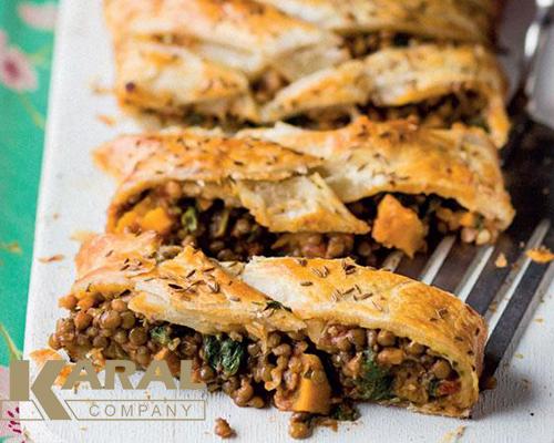 طرز تهیه رول عدس با خمیر یوفکا در کارگاه آشپزی کارال