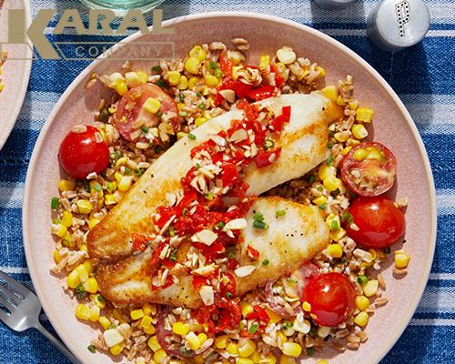 طرز تهیه ماهی با ذرت و گوجه کبابی در کارال