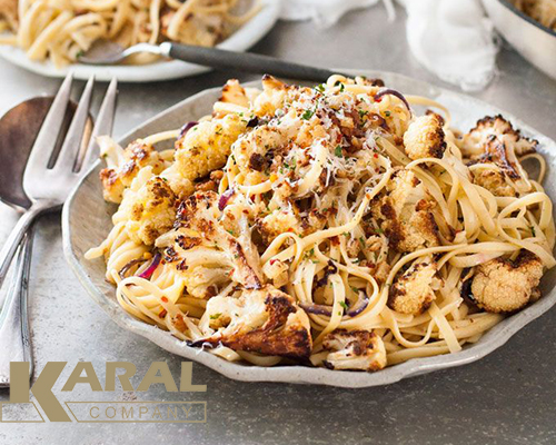طرز تهیه پاستا گل کلم در ظروف کارال