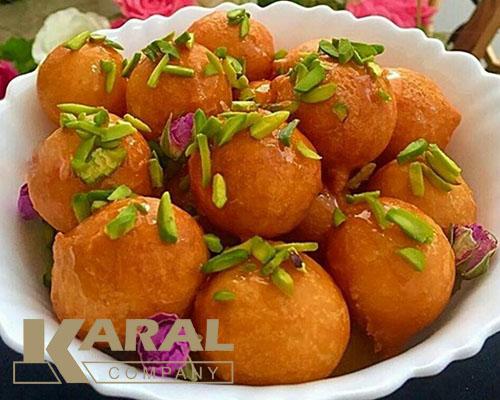 طرز تهیه شیرینی لگیمات یا لیقمات در ظروف کارال